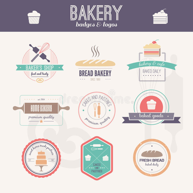 Bakery Logos. Set of bakery logos. Bread and pasteries labels, badges and design elements. Fresh baked goods royalty free illustration