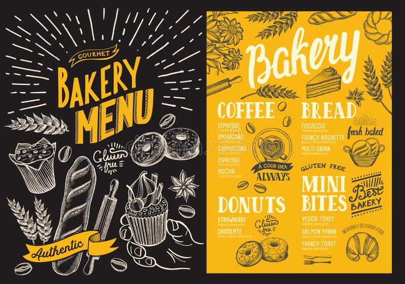Bakery menu for restaurant. Design template with food hand-drawn graphic illustrations. Vector food flyer for bar and cafe on. Blackboard background stock illustration
