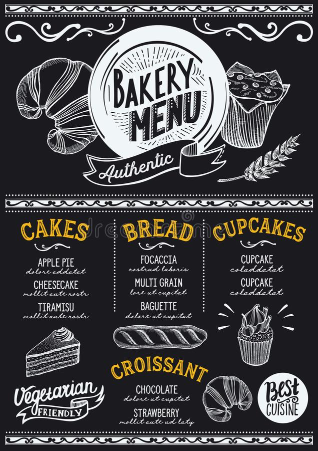Bakery menu restaurant, food template. Bakery dessert menu for restaurant and cafe. Design template with food hand-drawn graphic illustrations vector illustration
