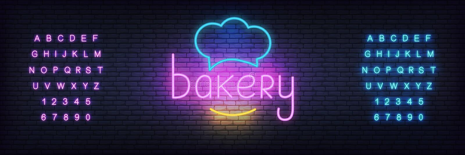 Bakery neon vector template. Glowing lettering sign for bake shop, cafe vector illustration