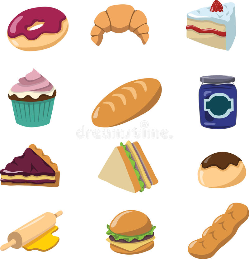 Bakery objects. For bakery shop,shade,shadow royalty free illustration