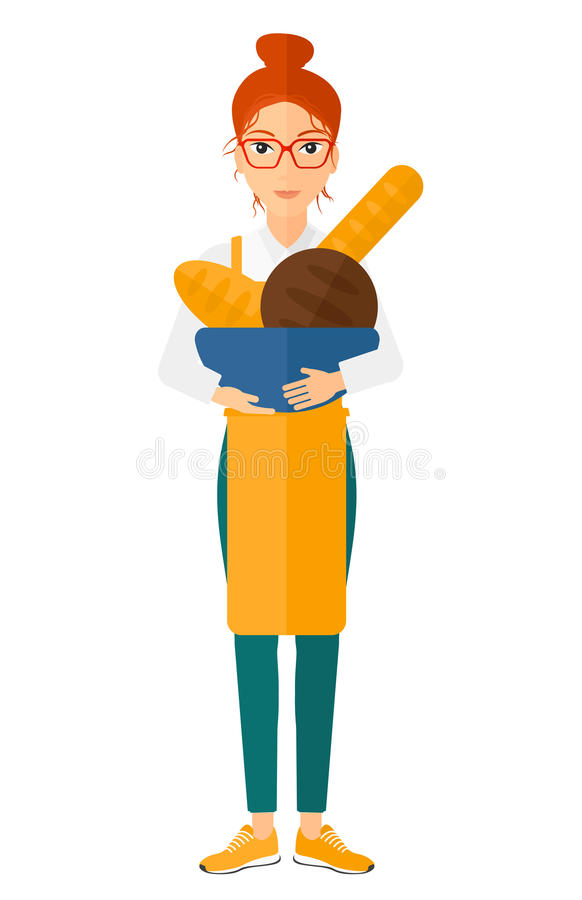 Bakery owner with bread vector illustration