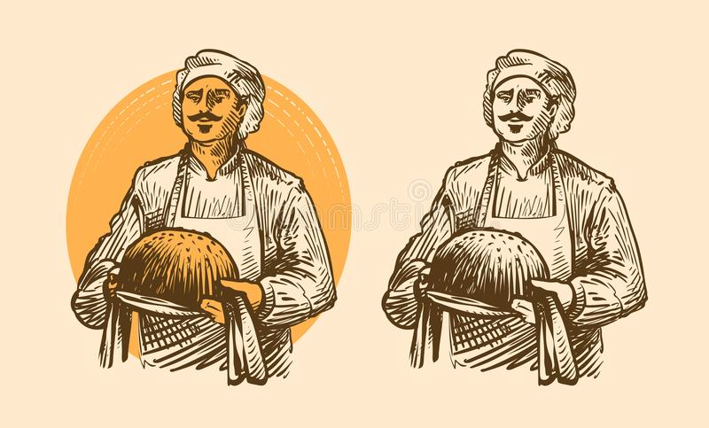 Bakery, pastries concept. Cook or baker with hot bread in hands. Sketch vector illustration. Bakery, pastries concept. Cook or baker with hot bread in hands royalty free illustration