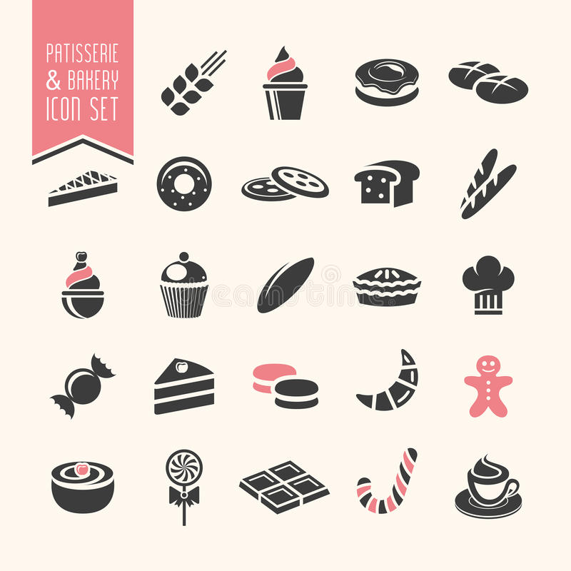 Bakery, pastry icon set vector illustration