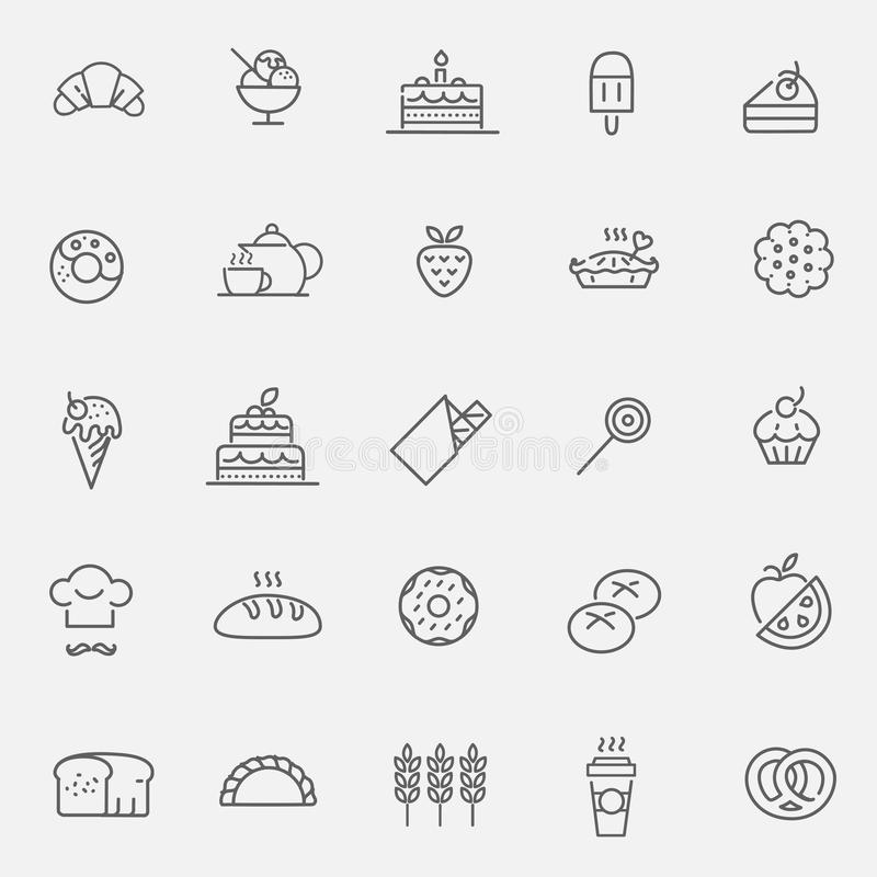 Bakery, pastry icons set - bread, donut, cake, cupcake royalty free illustration