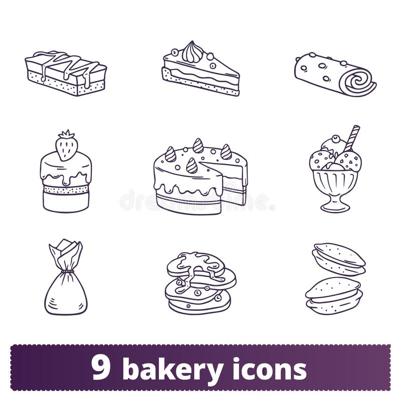 Bakery And Pastry Thin Line Hand Drawn Icons royalty free illustration