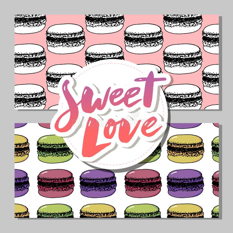 Bakery, pastry sweets and desserts banners with cakes and cupcakes, muffins, pies and tarts, vanilla biscuit puddings. royalty free illustration