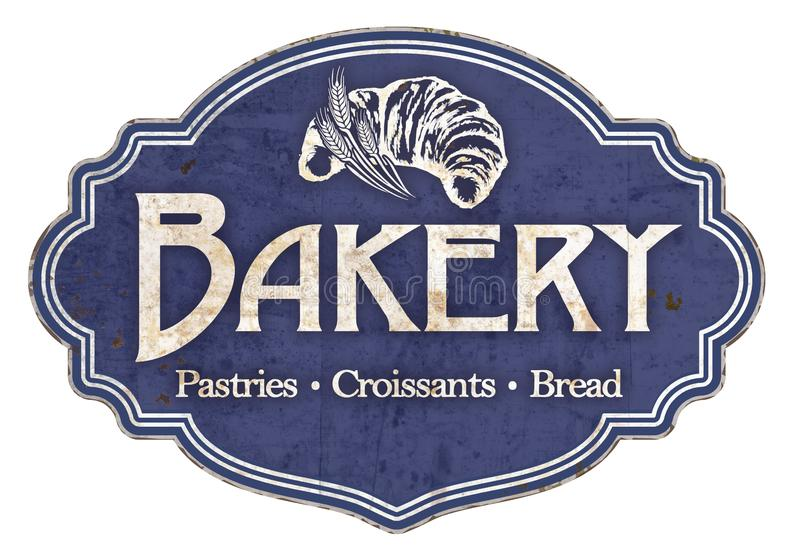 Bakery Plaque Sign Vintage Retro Enamel. Antique old croissants bread Pastries donuts bear claws French Sourdough royalty free stock images
