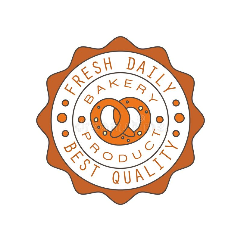 Bakery product, best quality, fresh daily logo, bread shop round badge retro food label design vector Illustration vector illustration