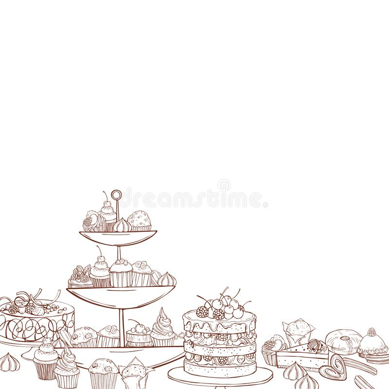 Cookies, cakes, muffins on white background. Bakery products background. Cookies, cakes, muffins on white background.  Vector sketch  illustration stock illustration