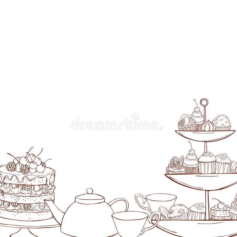Teapot, cups and cakes, muffins. Vector illustration. Bakery products background. Teapot, cups and cakes, muffins. Vector sketch  illustration vector illustration