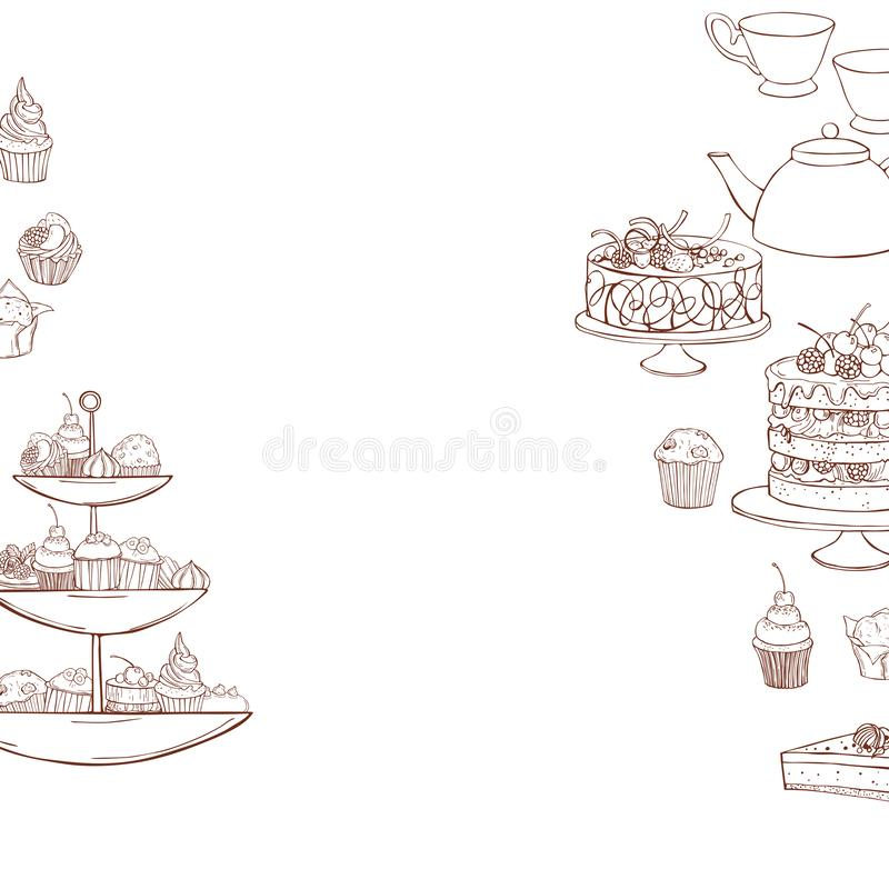 Teapot, cups and cakes, muffins. Vector  illustration. Bakery products background. Teapot, cups and cakes, muffins. Vector sketch  illustration stock illustration