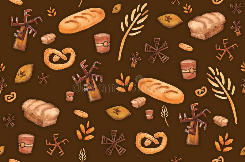 Bakery products, baking print. Pastry seamless pattern. Cute kitchen background royalty free illustration