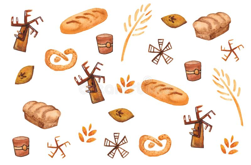 Bakery products, baking print. Pastry seamless pattern. Cute kitchen background stock illustration