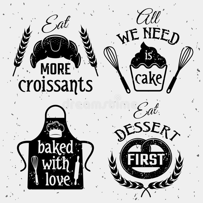 Bakery With Quotes Monochrome Set stock illustration