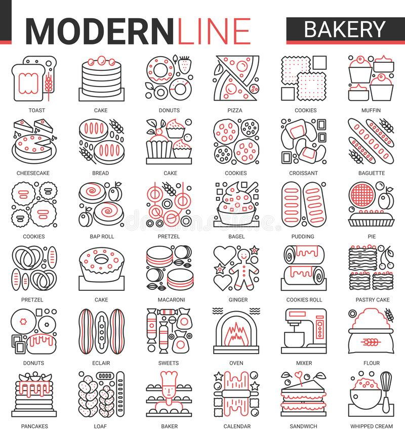 Free Bakery Red Black Thin Line Icon Vector Illustration Set, Sweet Food Dessert Outline Pictogram Collection With Baker Chef Stock Photography - 196514522