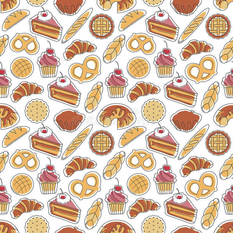 Bakery seamless pattern stock photo