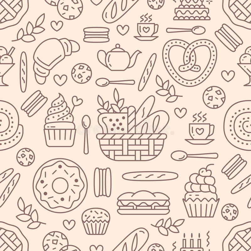 Bakery seamless pattern, food vector background of beige color. Confectionery products thin line icons - cake, croissant. Muffin, pastry, cupcake, pie. Cute stock illustration