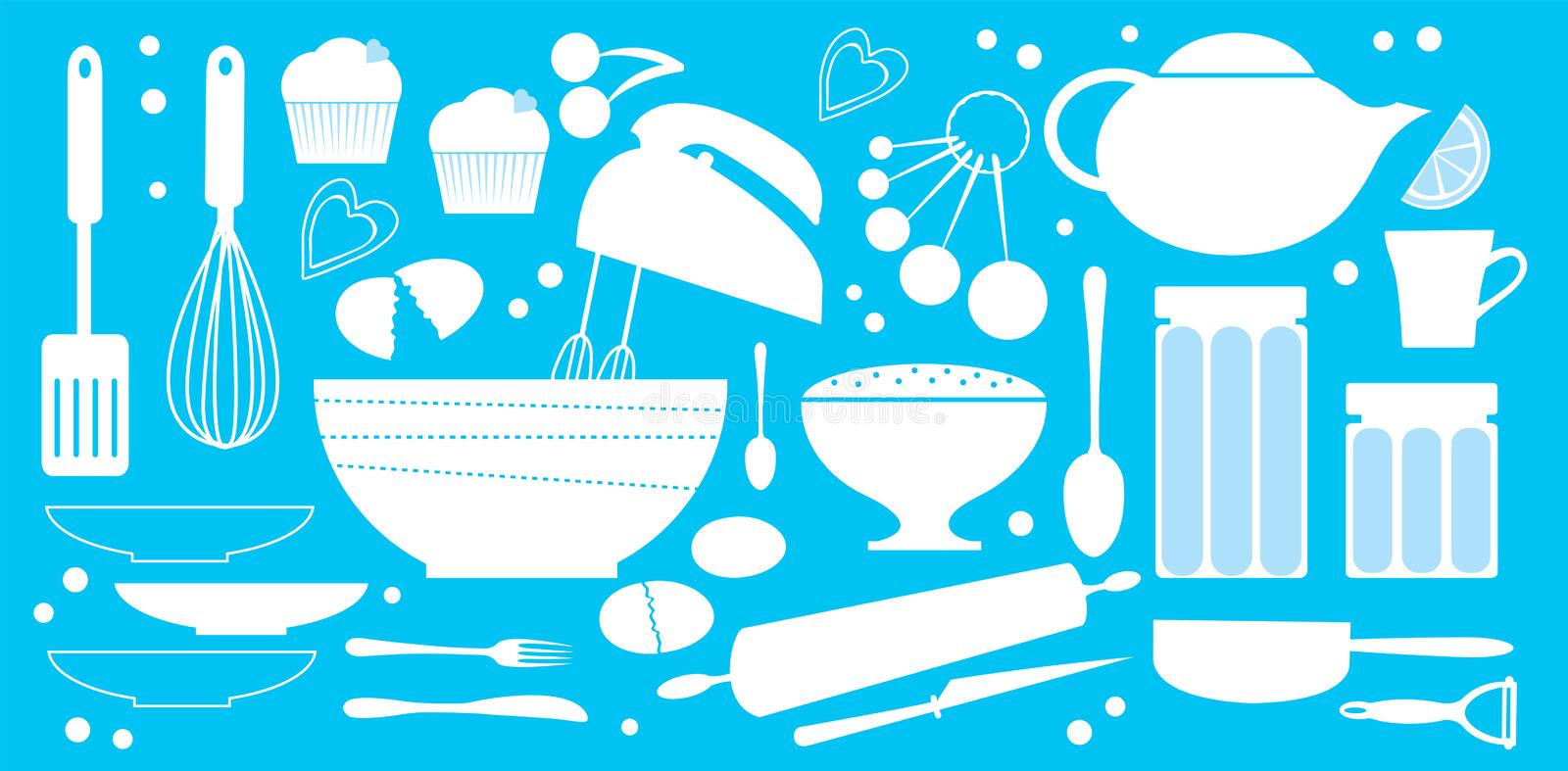 Bakery set. A cute collection of baking equipment and products stock illustration