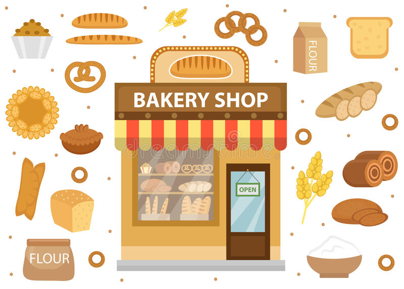 Bakery set icons with bread shop building, roll, loaf, cakes, bagels stock illustration