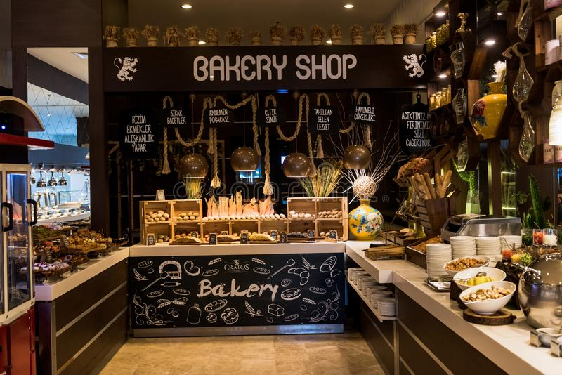 Bakery Shop. Presenting cakes and breads stock image