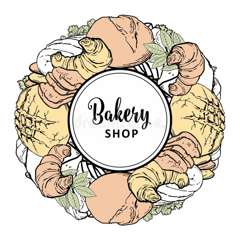 Bakery shop banner with baked bread, loaf and croissants with greenery. Bakery shop banner with colorful and line freshly baked bread, loaf and croissants with vector illustration