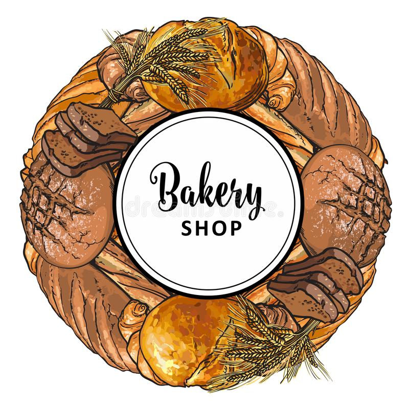 Bakery shop banner with freshly baked bread and croissants in sketch style. Bakery shop banner with freshly baked bread and croissants in sketch style collected vector illustration