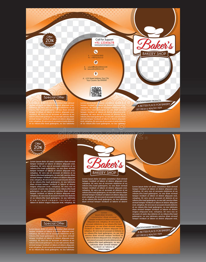 Bakery Shop Brochure Template Design Stock Vector Illustration - Bakery brochure template