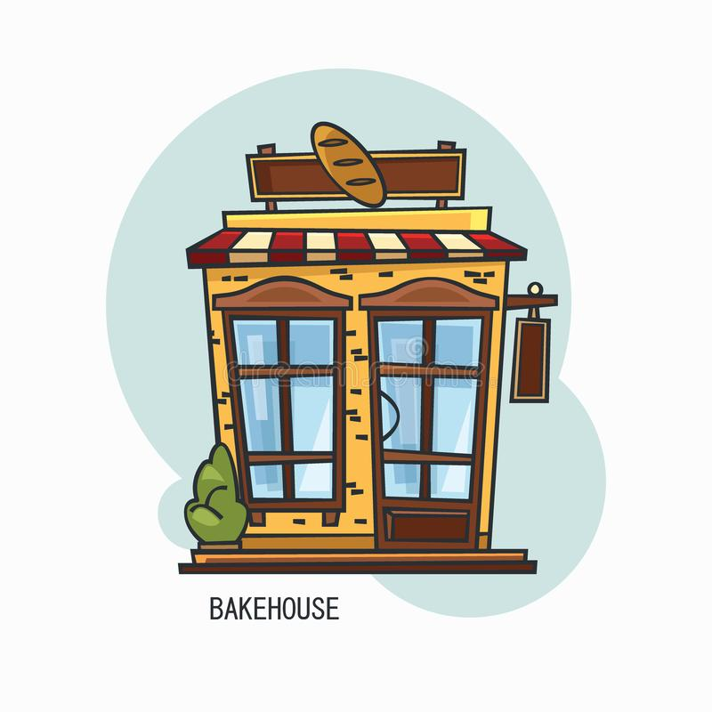 Bakery shop building or bakehouse outdoor view stock illustration
