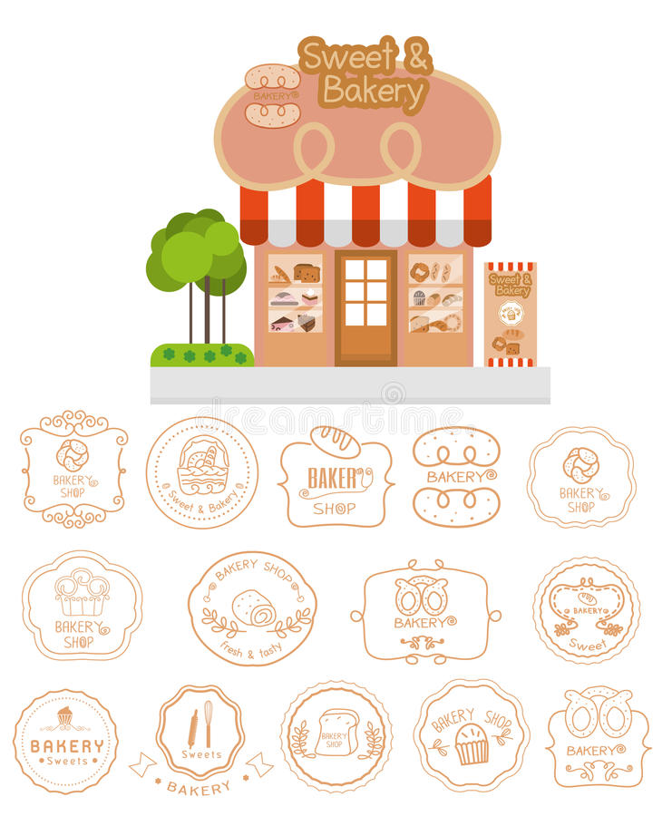 Bakery shop building facade with signboard and bakery logotypes royalty free illustration