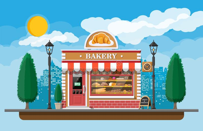 Bakery shop building facade with signboard. Baking store, cafe, bread, pastry and dessert shop. Showcases with bread, cake. City park, street lamp, trees stock illustration