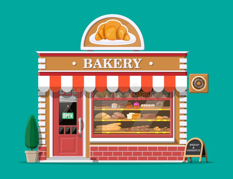 Bakery shop building facade with signboard. Baking store, cafe, bread, pastry and dessert shop. Showcases with various bread and cakes products. Market or royalty free illustration