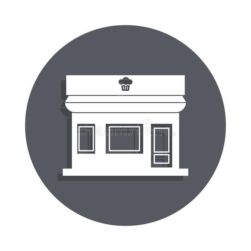 Bakery shop building icon in badge style. One of Buildings collection icon can be used for UI, UX vector illustration