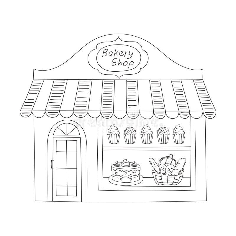 Bakery shop building vector illustration. royalty free illustration
