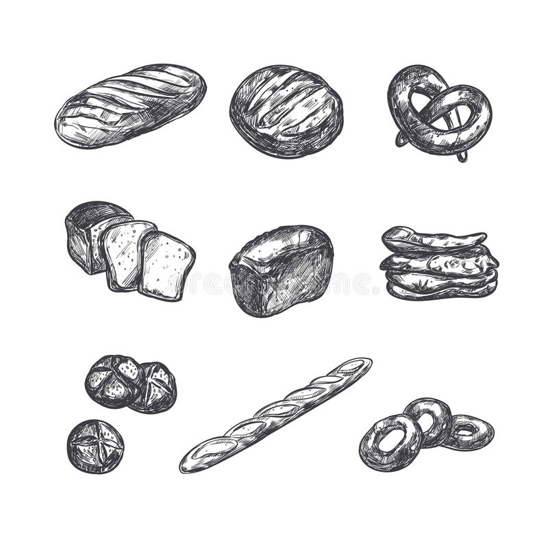 Bakery shop collection. Different types of bread. Windmill stock illustration