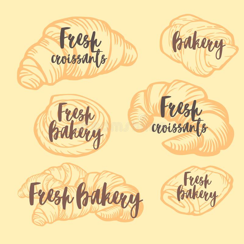 Bakery shop design. Delicious croissants, pies and buns. Vintage design. royalty free stock photos
