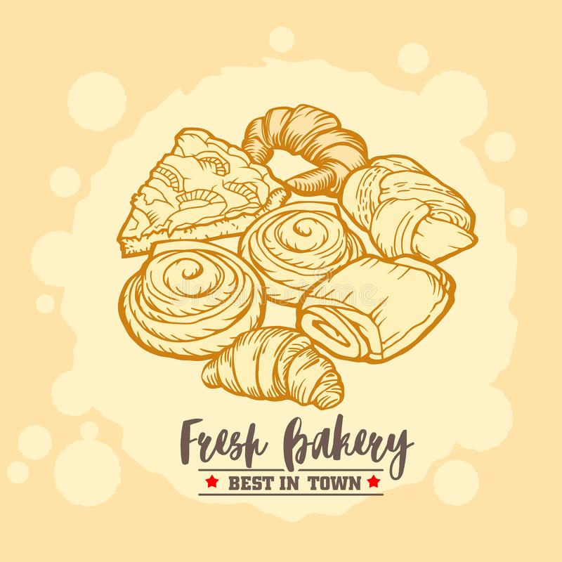 Bakery shop emblem, badge and logo. Delicious croissants, pies and buns. Vintage design. royalty free stock image