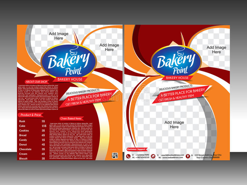 Bakery shop flyer template & pamplet. Vector illustration stock illustration