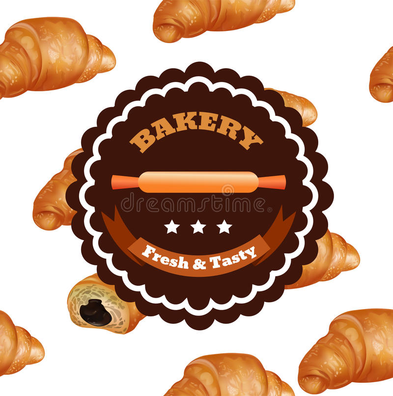Bakery Shop Label Design. Fresh and Tasty Desserts. Croissant , Ribbons and Stars. Vector Illustration with Seamless Pattern. Eps 10 royalty free illustration