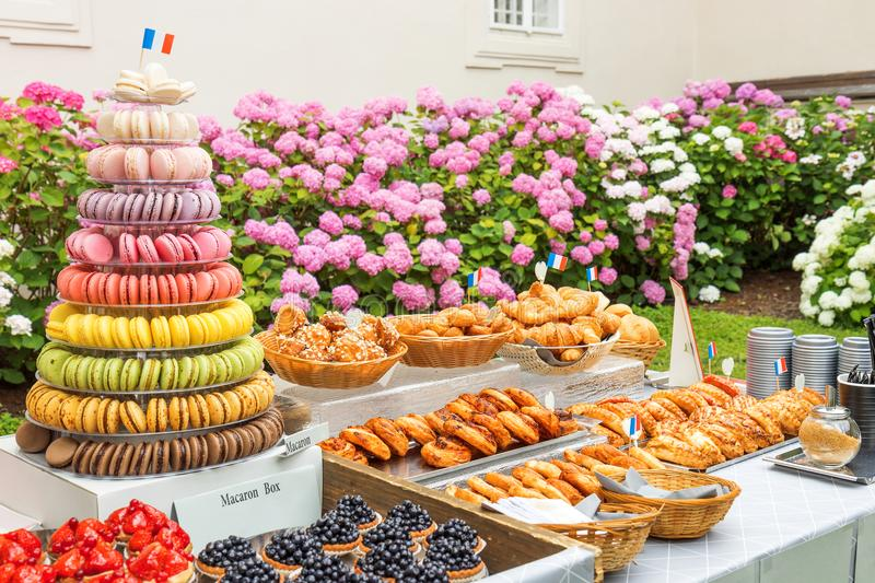 A bakery shop offer - garden party, French style. stock image