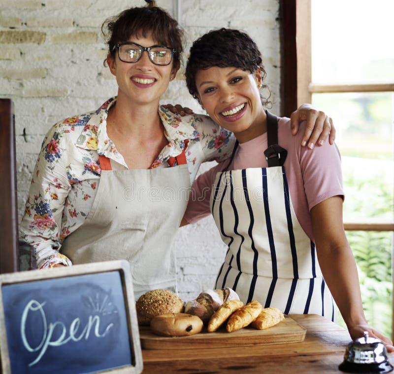 Bakery shop partnerships bakehouse concept stock image