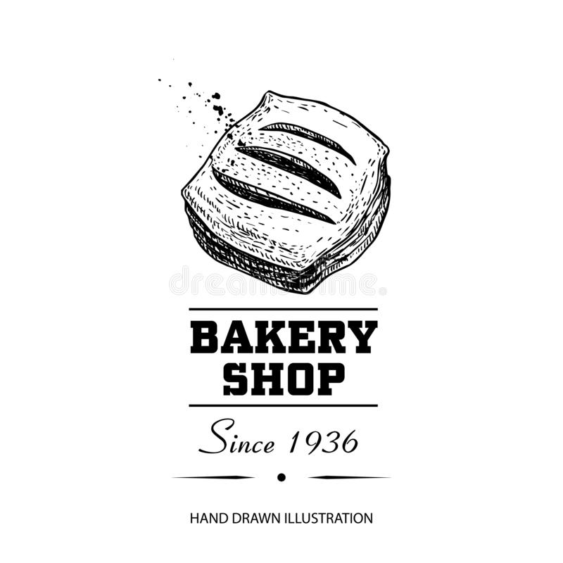 Bakery shop poster. Top view sweet pastry bun with strawberry or other berries jam. Hand drawn sketch style vector illustration is royalty free illustration