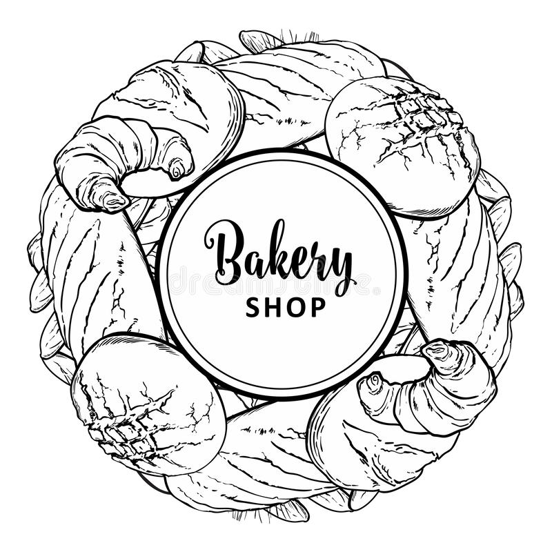 Bakery shop round element with baked bread, long loaf and croissants in line sketch style. Bakery shop round decorative element with baked bread, long loaf and royalty free illustration