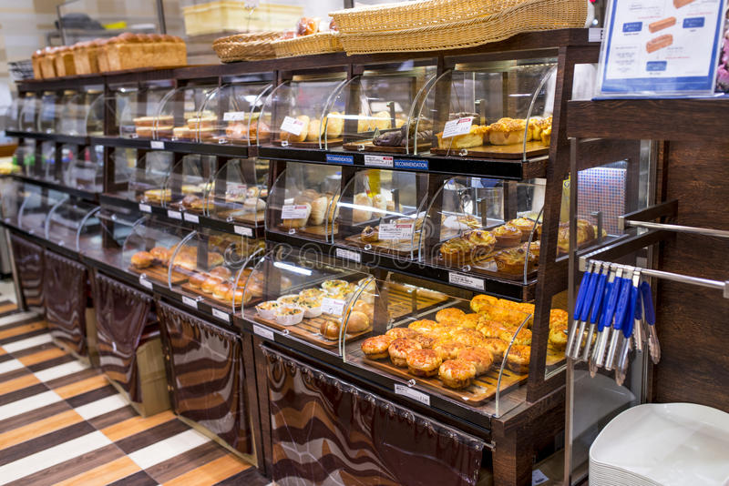 Bakery Shop. Row of pastry and bread at bakery shop stock image