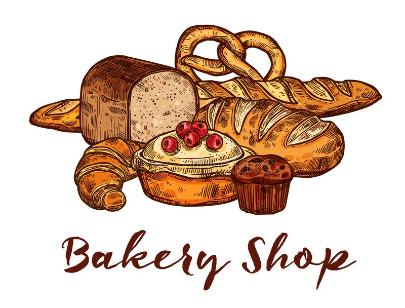 Bakery shop sketch of wheat bread and pastry food. Bakery shop sketch of wheat bread and sweet pastry. Loaf of rye bread, french baguette and croissant vector illustration