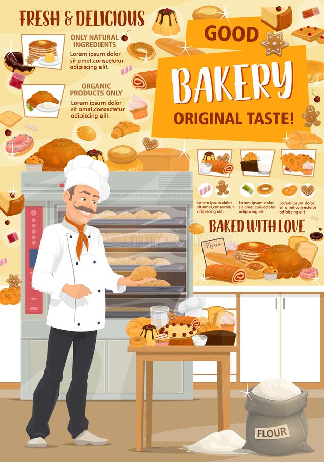 Vector Pastry, Bakery Ingredients And Baker Stock Vector