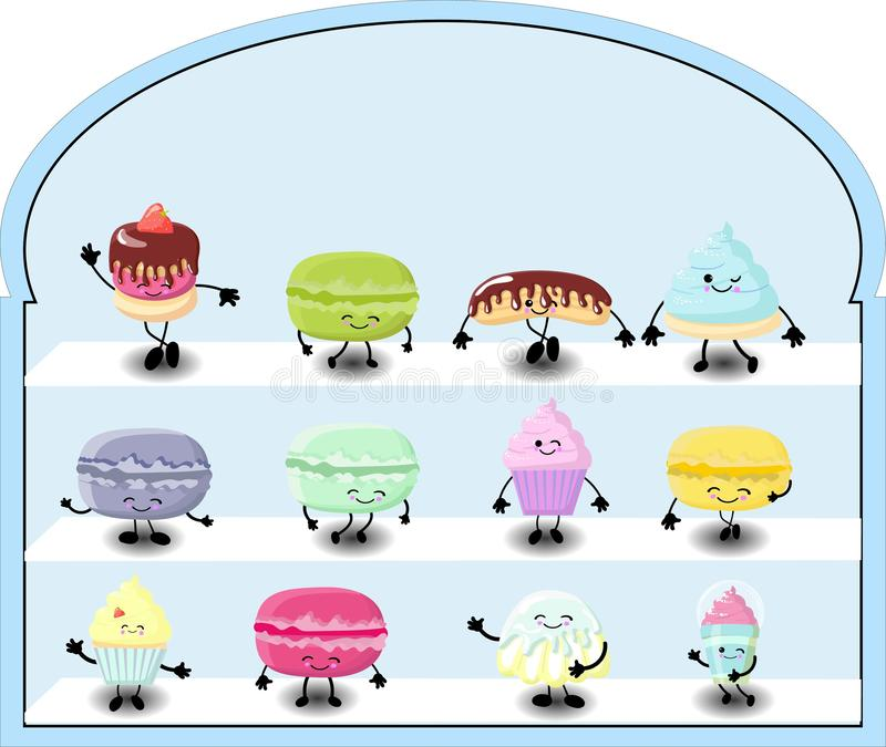 Bakery shop vitrine freezer with cakes and pastry. Assortment of desserts stock illustration
