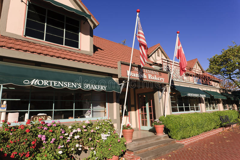 Bakery, Solvang, California. Founded by Danish immigrants in 1911, the city of Solvang (sunny fields) draws tourists from all over the world offering Danish royalty free stock photos