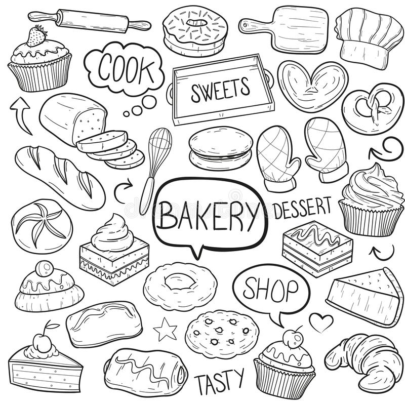 Bakery Sweets and Desserts Cook Equipment Traditional Doodle Icons Sketch Hand Made Design Vector. A emblematic elements and Tools Traditional Doodle Style Hand vector illustration