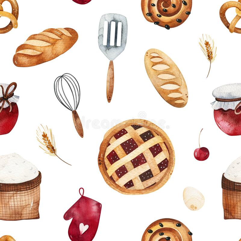 Free Bakery Texture With Bread,cake,pie,wheat,cooking Tools Stock Images - 181764684